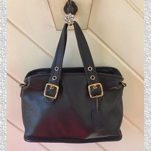 VINTAGE COACH BLACK LEATHER SATCHEL